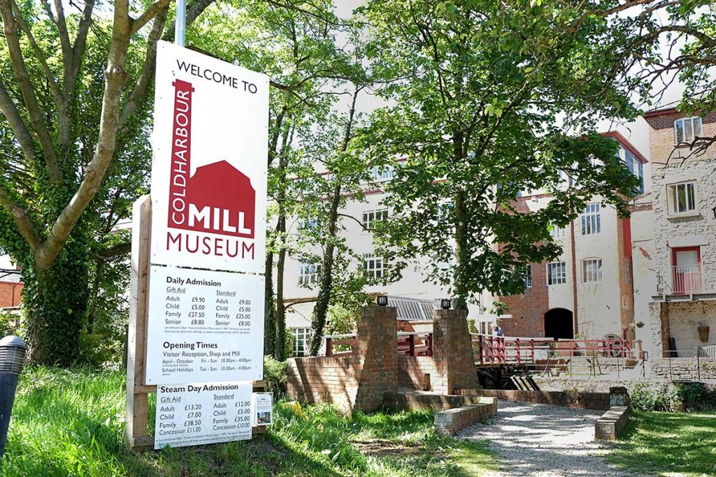 coldharbour mill museum brand welcome sign