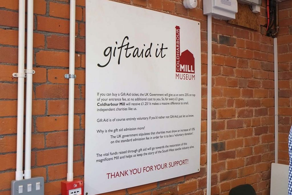 Coldharbour Mill Museum brand gift aid sign